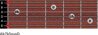 Ab7b5sus/D for guitar on frets x, 5, 4, 1, 3, x