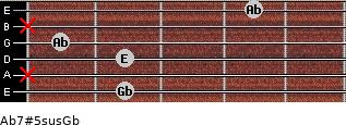 Ab7#5sus/Gb for guitar on frets 2, x, 2, 1, x, 4
