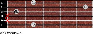 Ab7#5sus/Gb for guitar on frets 2, x, x, 1, 5, 2