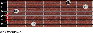 Ab7#5sus/Gb for guitar on frets 2, x, x, 1, 5, 4