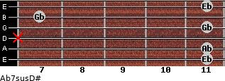 Ab7sus/D# for guitar on frets 11, 11, x, 11, 7, 11