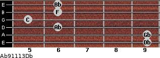 Ab9/11/13/Db for guitar on frets 9, 9, 6, 5, 6, 6