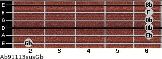 Ab9/11/13sus/Gb for guitar on frets 2, 6, 6, 6, 6, 6