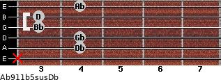 Ab9/11b5sus/Db for guitar on frets x, 4, 4, 3, 3, 4