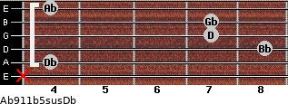 Ab9/11b5sus/Db for guitar on frets x, 4, 8, 7, 7, 4