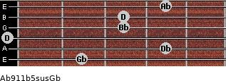 Ab9/11b5sus/Gb for guitar on frets 2, 4, 0, 3, 3, 4