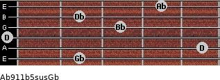 Ab9/11b5sus/Gb for guitar on frets 2, 5, 0, 3, 2, 4