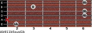 Ab9/11b5sus/Gb for guitar on frets 2, x, 6, 6, 3, 6