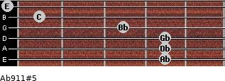 Ab9/11#5 for guitar on frets 4, 4, 4, 3, 1, 0