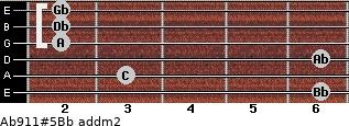 Ab9/11#5/Bb add(m2) guitar chord