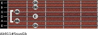 Ab9/11#5sus/Gb for guitar on frets 2, 1, 2, 1, 2, 2