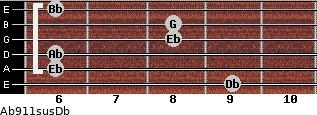 Ab9\11sus\Db for guitar on frets 9, 6, 6, 8, 8, 6
