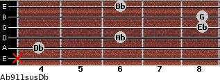 Ab9\11sus\Db for guitar on frets x, 4, 6, 8, 8, 6