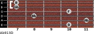 Abº9/13/D for guitar on frets 10, 11, 8, 10, 7, 7