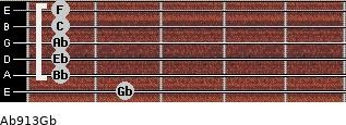 Ab9/13/Gb for guitar on frets 2, 1, 1, 1, 1, 1