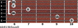 Ab9/13b5sus/D for guitar on frets 10, 9, 6, 7, 6, 6