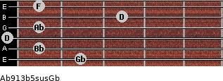 Ab9/13b5sus/Gb for guitar on frets 2, 1, 0, 1, 3, 1