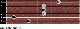 Ab9/13b5sus/Gb for guitar on frets 2, 1, 3, 3, 3, 4