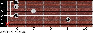 Ab9/13b5sus/Gb for guitar on frets x, 9, 6, 7, 6, 6