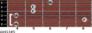 Ab9/13#5 for guitar on frets 4, 8, 4, 5, 5, 6