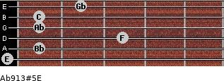 Ab9/13#5/E for guitar on frets 0, 1, 3, 1, 1, 2
