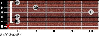 Ab9/13sus/Eb for guitar on frets x, 6, 6, 10, 7, 6