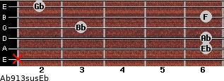 Ab9/13sus/Eb for guitar on frets x, 6, 6, 3, 6, 2