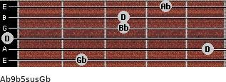 Ab9b5sus/Gb for guitar on frets 2, 5, 0, 3, 3, 4