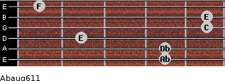 Abaug6/11 for guitar on frets 4, 4, 2, 5, 5, 1