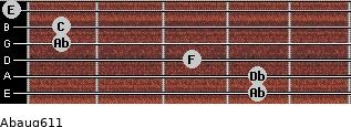 Abaug6/11 for guitar on frets 4, 4, 3, 1, 1, 0