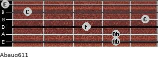 Abaug6/11 for guitar on frets 4, 4, 3, 5, 1, 0
