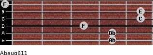 Abaug6/11 for guitar on frets 4, 4, 3, 5, 5, 0