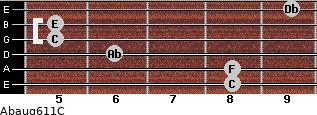 Abaug6/11/C for guitar on frets 8, 8, 6, 5, 5, 9
