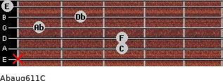Abaug6/11/C for guitar on frets x, 3, 3, 1, 2, 0