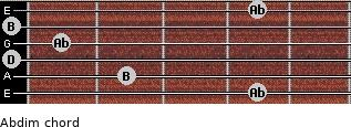 Abdim for guitar on frets 4, 2, 0, 1, 0, 4