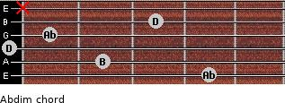 Abdim for guitar on frets 4, 2, 0, 1, 3, x