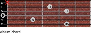 Abdim for guitar on frets 4, 2, 0, 4, 3, x