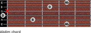 Abdim for guitar on frets 4, 2, 0, x, 3, 4