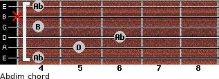 Abdim for guitar on frets 4, 5, 6, 4, x, 4