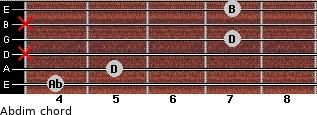 Abdim for guitar on frets 4, 5, x, 7, x, 7
