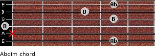 Abdim for guitar on frets 4, x, 0, 4, 3, 4