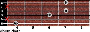 Abdim for guitar on frets 4, x, 6, 7, x, 7