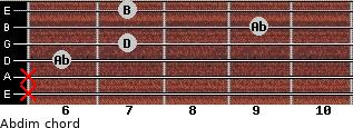Abdim for guitar on frets x, x, 6, 7, 9, 7