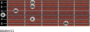 Abdim11 for guitar on frets 4, 2, 0, 1, 2, 2