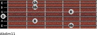 Abdim11 for guitar on frets 4, 2, 0, 4, 2, 2