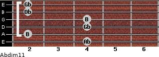 Abdim11 for guitar on frets 4, 2, 4, 4, 2, 2