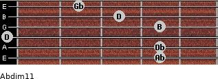 Abdim11 for guitar on frets 4, 4, 0, 4, 3, 2