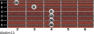 Abdim11 for guitar on frets 4, 4, 4, 4, 3, 2