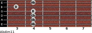 Abdim11 for guitar on frets 4, 4, 4, 4, 3, 4