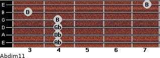 Abdim11 for guitar on frets 4, 4, 4, 4, 3, 7